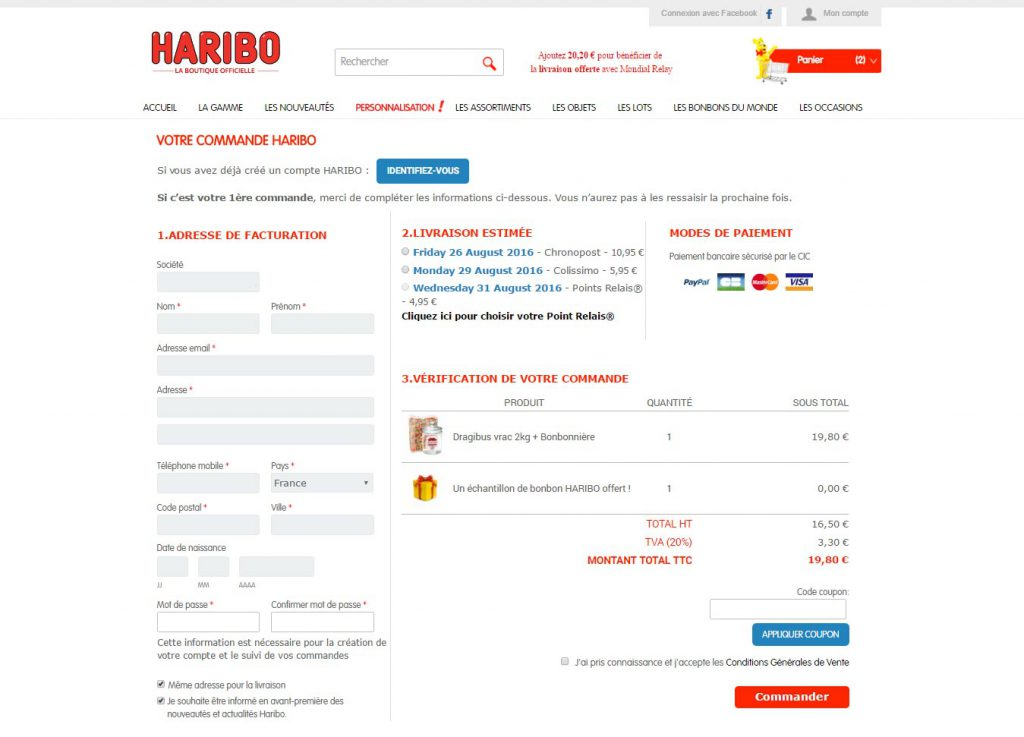 Screenshot of OneStepCheckout at Haribo