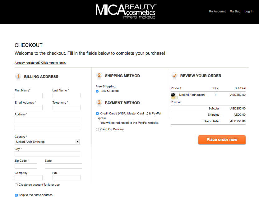Mica Beauty a Dubai Magento store with OneStepCheckout