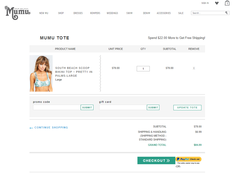 Fashion Magento store checkout
