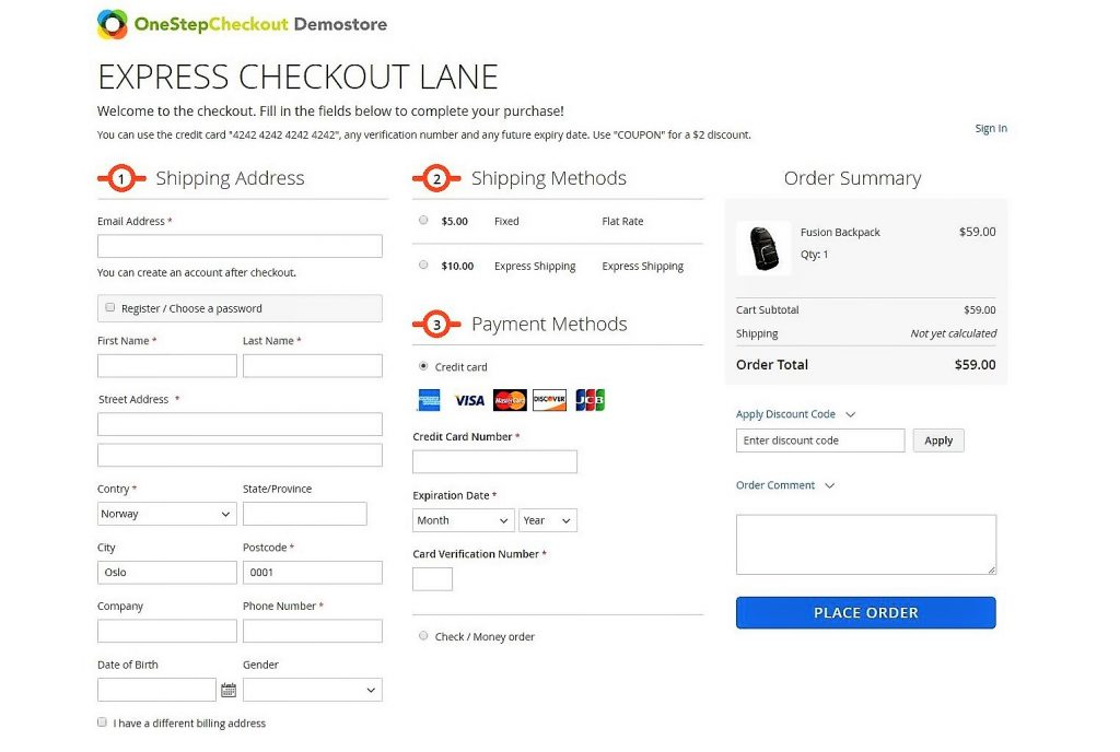 Front end Demo OneStepCheckout Magento 2 Official (2)