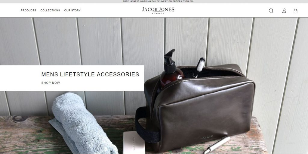 Magento 2 stores examples. Design, Accessories, Leather bags