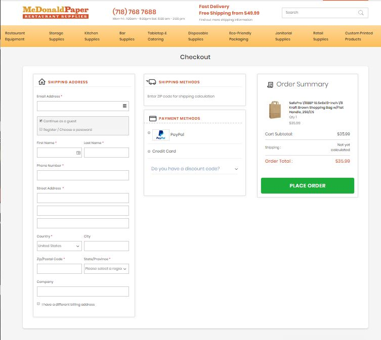 McDonald Paper Checkout powered by OneStepCheckout for Magento 2