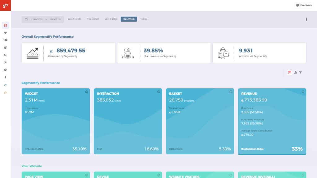 Segmentify, recommendation solution dashboard