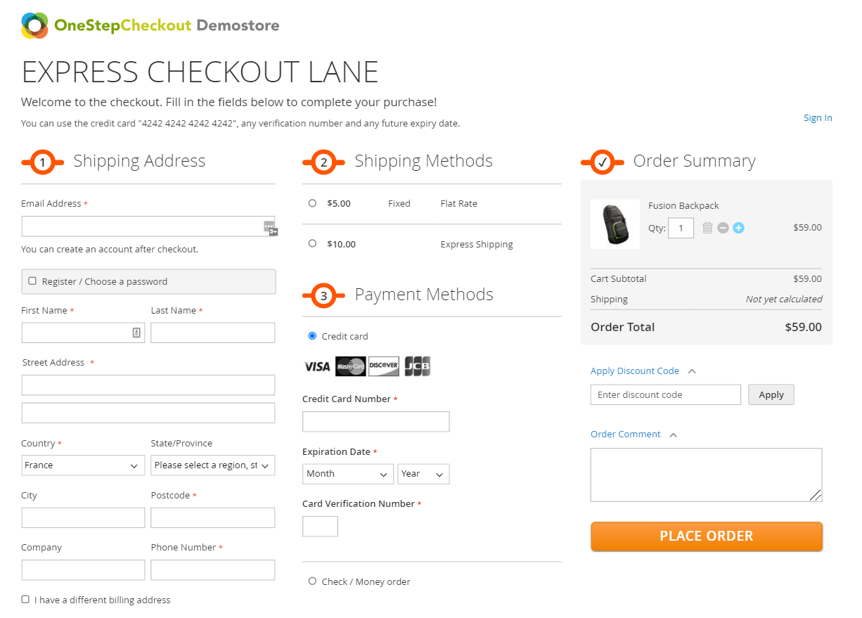 Magento 2 checkout demo OneStepCheckout