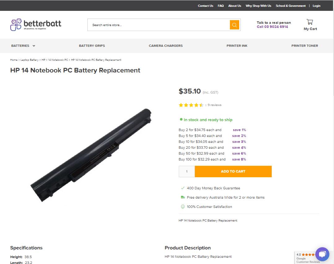 BetterBatt Magento 2 product page