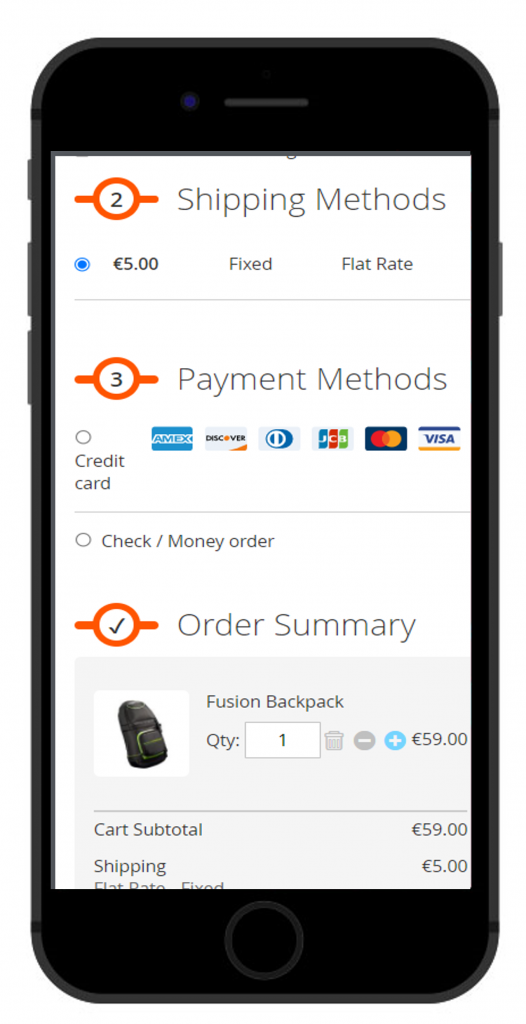 OneStepCheckout for Magento 2 Mobile responsive layout