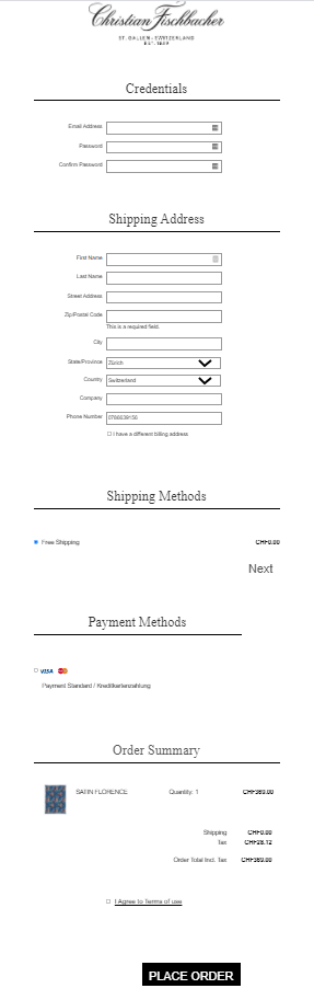 Magento 2 store one step checkout with a one column layout
